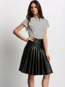 Black PU Leather Pleated Skirt