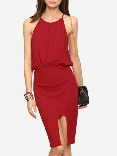 Red Spaghetti Strap Knee Length Dress