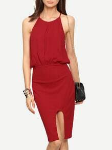 Red Spaghetti Strap Knee Length Dress