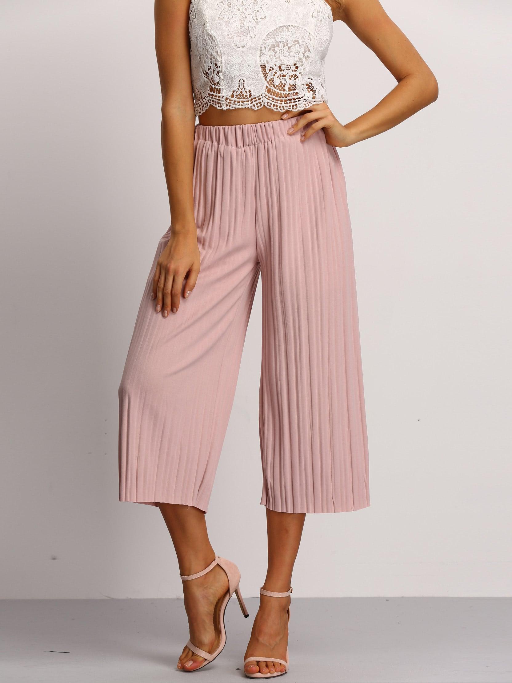 Pink Elastic Waist Pleated PantPink Elastic Waist Pleated Pant<br><br>color: Pink<br>size: one-size