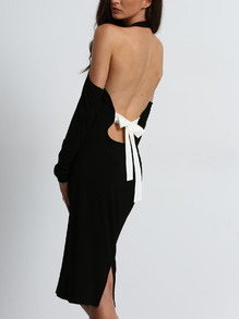 Open Shoulder Backless Bow Halter Dress -SheIn(Sheinside)
