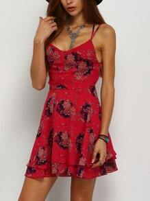Red Raspberry Floaty Spaghetti Strap Flowery Florals Chiffon Dress