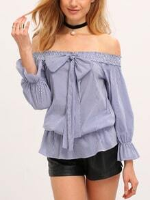 Blue Off The Shoulder Bow Tie Striped Blouse