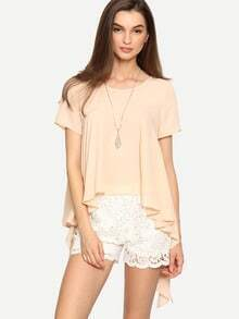 Pink Short Sleeve Asymmetrical Blouse