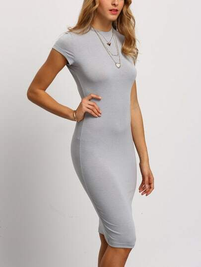 Grey Crew Neck Slim Sheath Dress