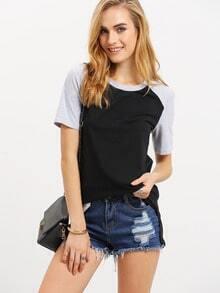 Black Patchwork Grey Short Sleeve T-shirt