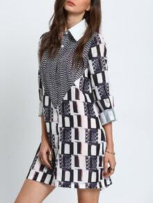 Black White Abstract Print Side Slit Dress