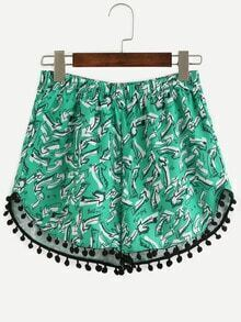 Green Elastic Waist Print Pom Pom Shorts