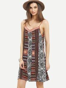 Multicolor Vintage Print Tie Back Spaghetti Strap Dress