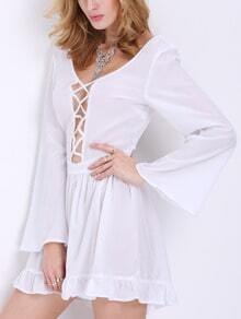 White Long Sleeve Ruffle Playsuit
