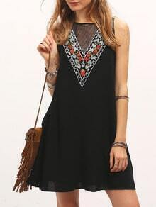 Black Sleeveless V Shape Print Casual Dress