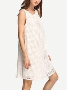 White Sleeveless Casual Dress
