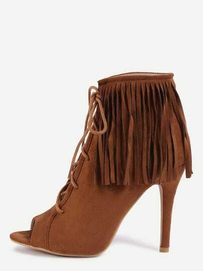 Peep Toe Lace-Up Fringe Pumps - Light Tan