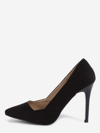 Black Faux Suede Pointed Toe Pumps