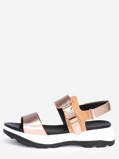 Faux Patent Leather Wide Strap Flatform Sandals - Rose Gold