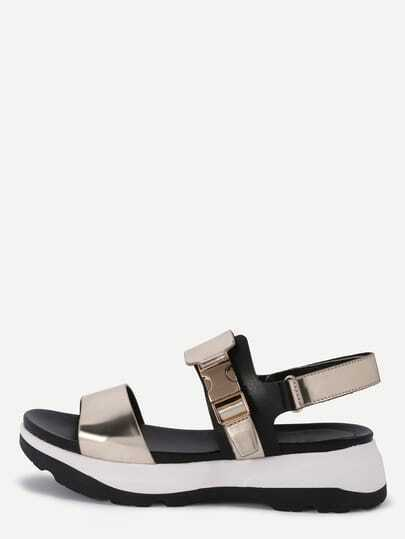 Faux Patent Leather Wide Strap Flatform Sandals - Gold