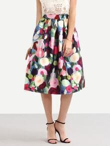 Multicolor Abstract Flower Print Midi Skirt