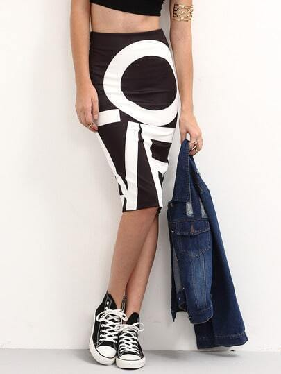 Letter Print Back Slit Pencil Skirt - Black