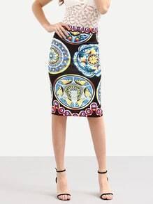 Multicolor Vintage Print Back Slit Pencil Skirt