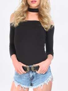 Black Cut Away High Neck Zipper T-shirt
