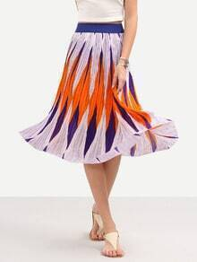 Multicolor Geometric Print Midi Chiffon Skirt