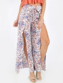 Multicolor Print Split Tie Waist Pants