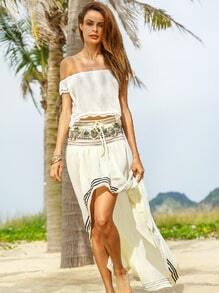 Printed Banded Waist Striped Hem High-Low Skirt - Beige