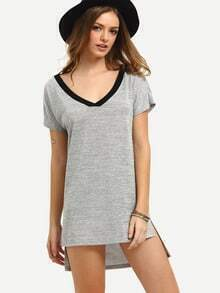 Grey Short Sleeve High Low Shift Dress