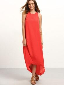 Red Sleeveless High Low Dress
