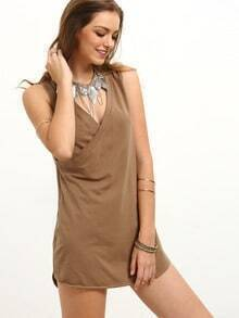 Coffee Wrap Front V Neck Dress