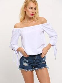 White Off The Shoulder Bow Tie Cuff Blouse