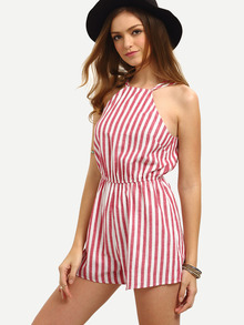 Vertical Striped Sleeveless Jumpsuit -SheIn(Sheinside)