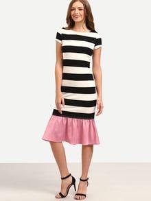 Black White Striped Patchwork Ruffle Midi Dress