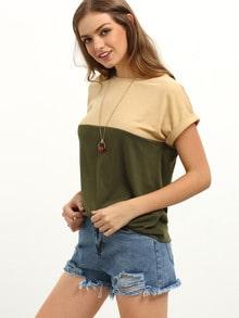 Multicolor Short Sleeve Patchwork T-shirt