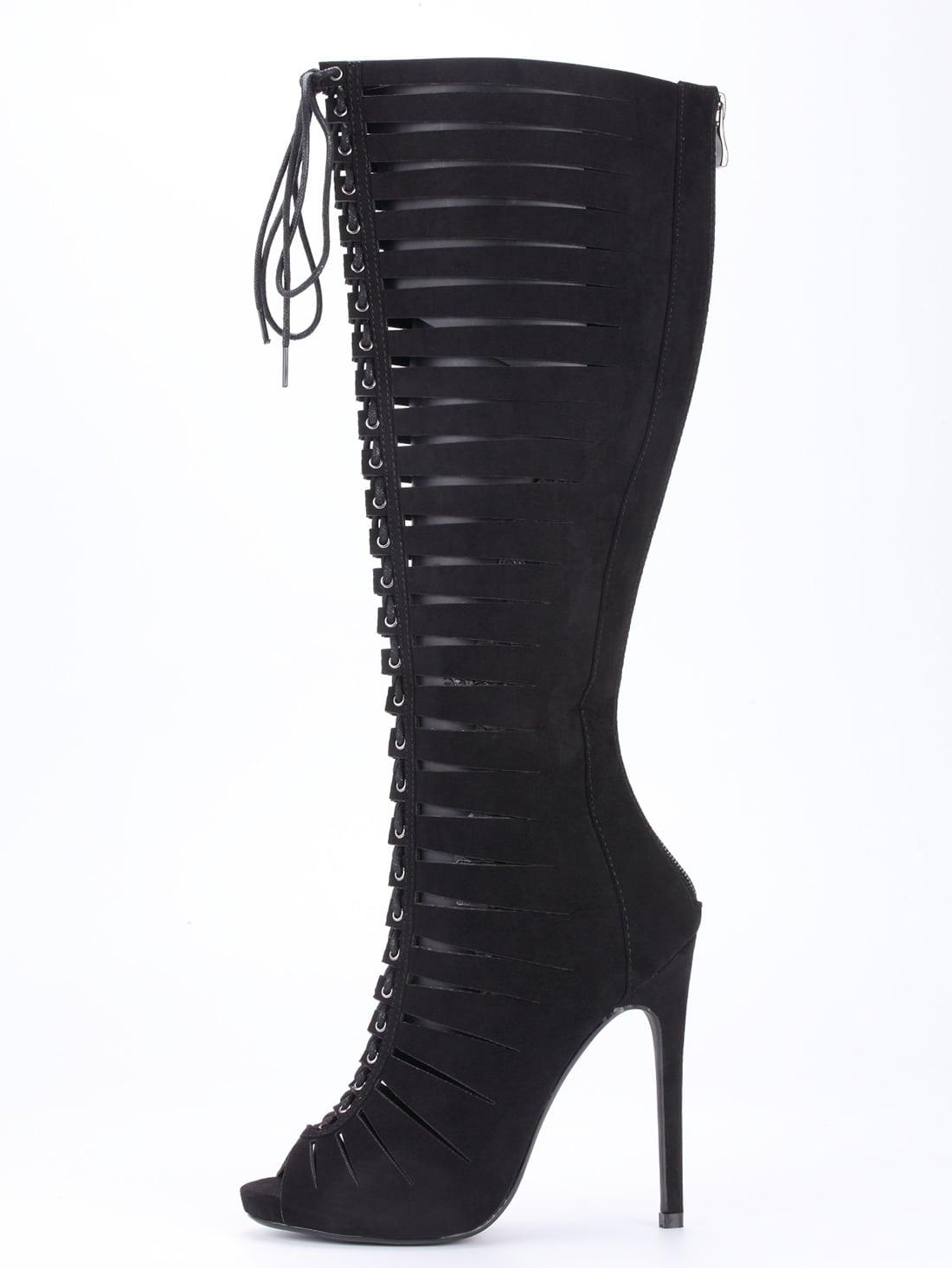 Black Satin Strappy Peep Toe Knee High HeelsBlack Satin Strappy Peep Toe Knee High Heels<br><br>color: Black<br>size: US5.5