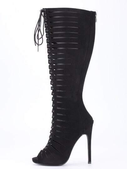 Black Satin Strappy Peep Toe Knee High Heels
