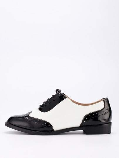 Black & White Full Brogue Lace-Up Oxford Flats