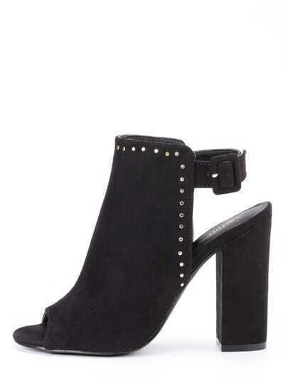 Faux Suede Studded High Vamp Peep Toe Heels - Black
