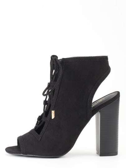 Faux Suede Lace-Up Peep Toe Sling Back Heels - Black