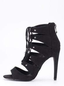 Faux Suede Lace-Up Peep Toe Heels - Black