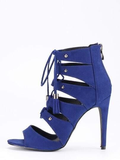 Faux Suede Lace-Up Peep Toe Heels - Blue