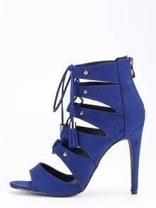 Faux Suede Lace-Up Peep Toe Heels - Blue