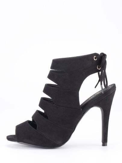 Faux Suede Caged Sling Back Heels - Black