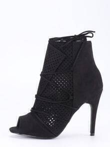 Laser-Cut Lace-Up Peep Toe Heels - Black