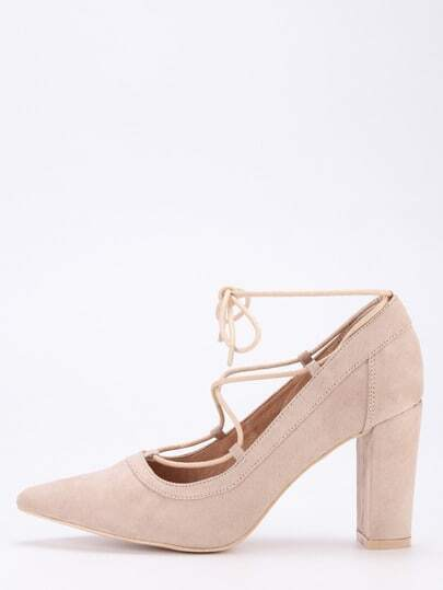 Faux Suede Lace-Up Pointed Toe Heels - Apricot