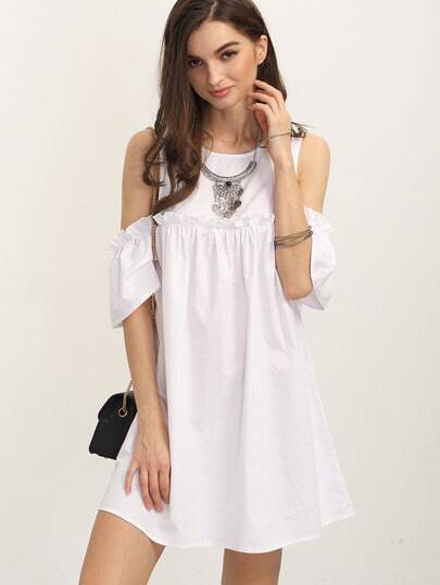 White Ruffle Cold Shoulder Shift Dress