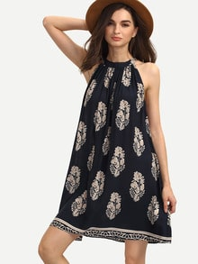 Multicolor Print Sleeveless Crew Neck Shift Dress