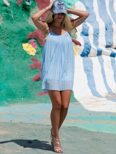 Blue Spaghetti Strap Pleated Dress