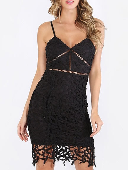 Фото Black Spaghetti Strap Crochet Lace Sheath Dress. Купить с доставкой