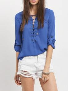 Lace-Up Rolled Sleeve Blouse - Blue